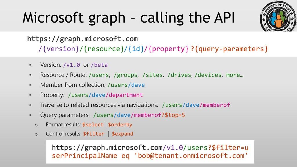 Microsoft graph – calling the API • Version: /v...