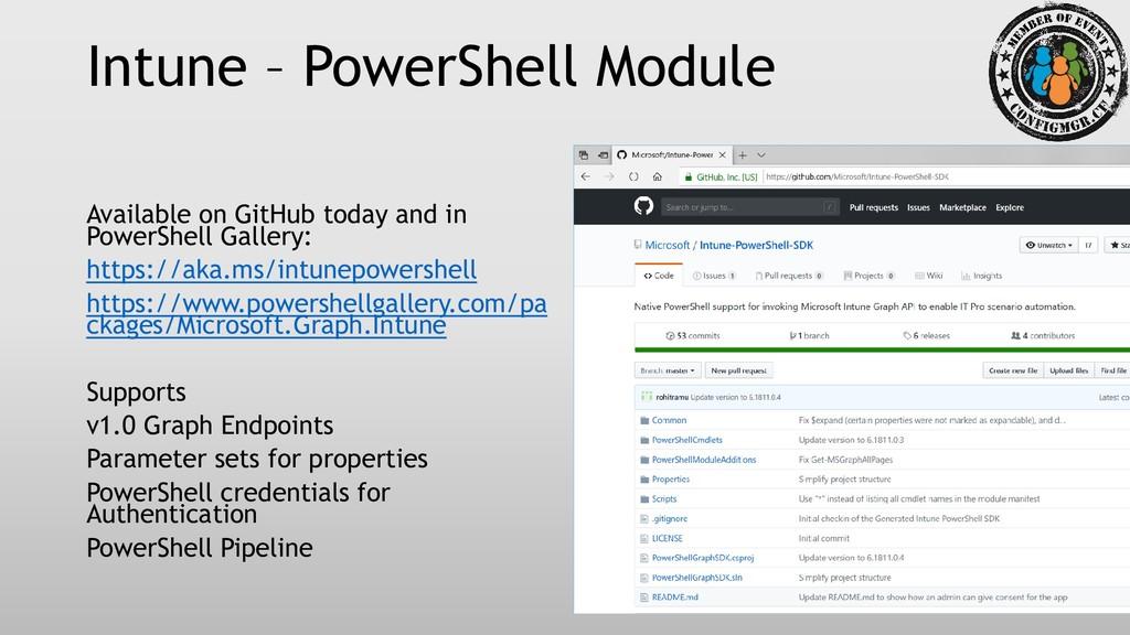 Intune – PowerShell Module Available on GitHub ...
