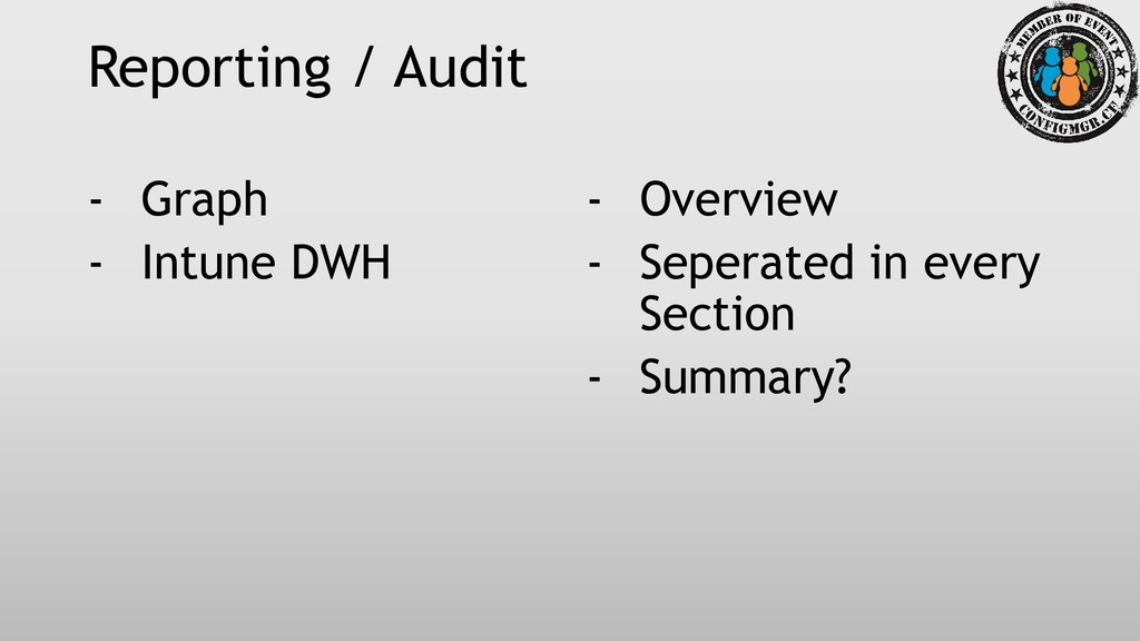 Reporting / Audit - Graph - Intune DWH - Overvi...