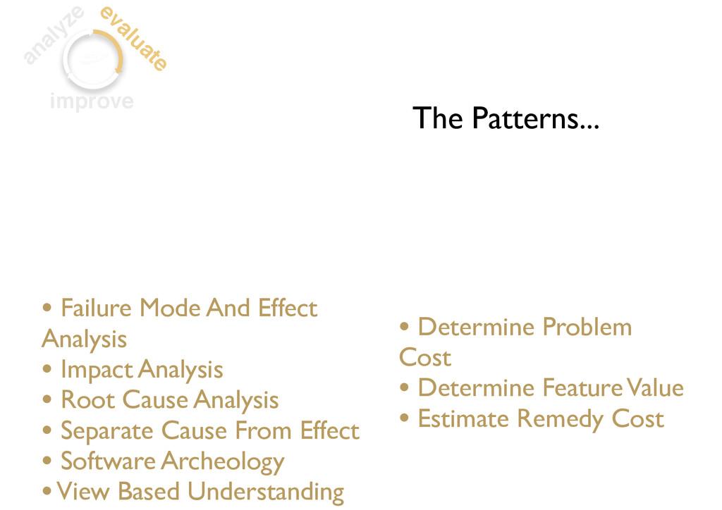 analyze evaluate improve • Determine Problem Co...
