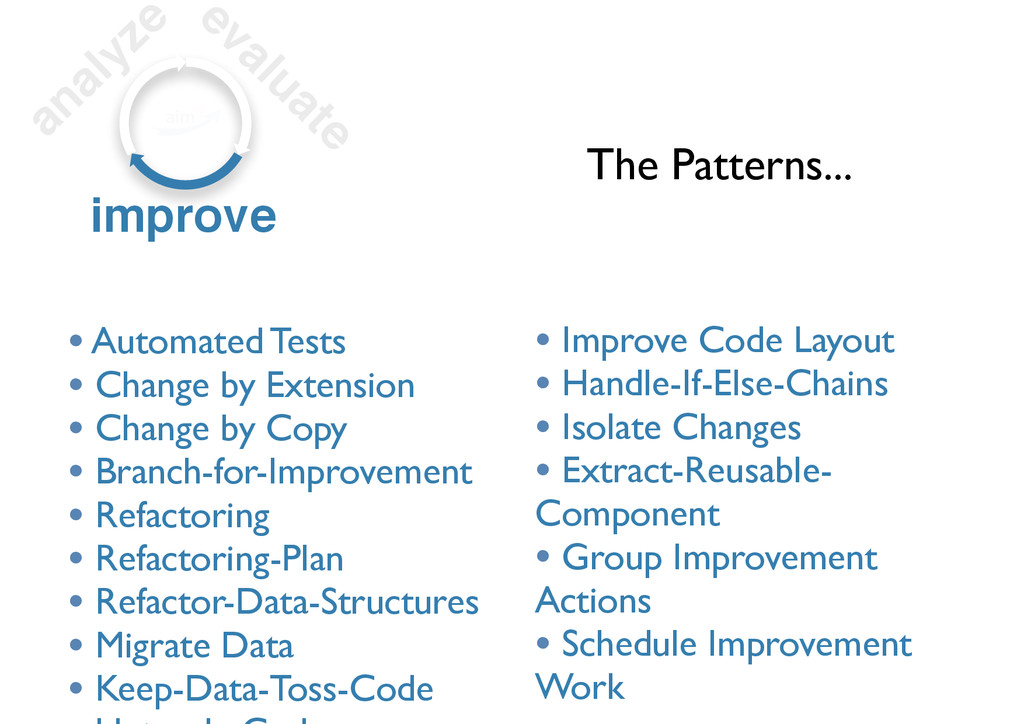 analyze evaluate improve • Automated Tests • Ch...