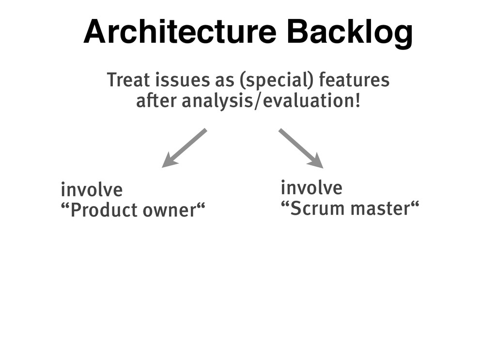 Architecture Backlog Treat issues as (special) ...