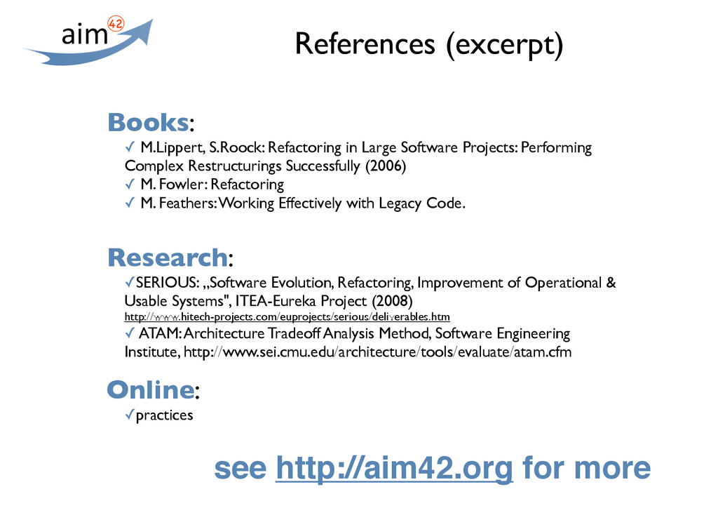 References (excerpt) Books: ✓ M.Lippert, S.Rooc...