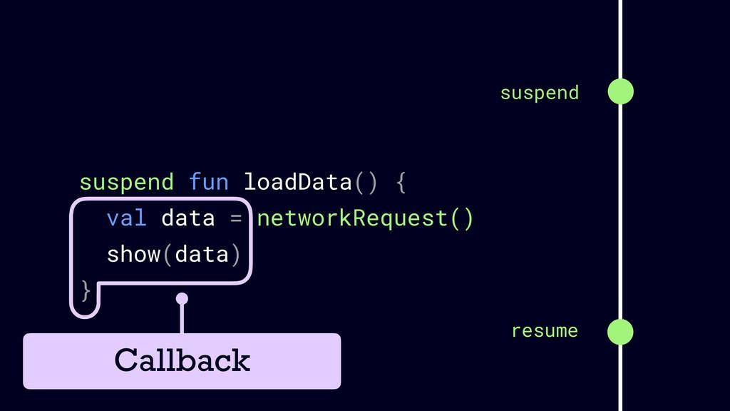 suspend fun loadData() { val data = networkRequ...