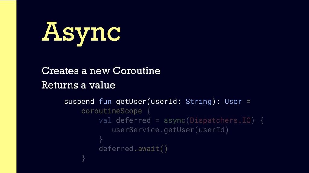 Async Creates a new Coroutine Returns a value s...