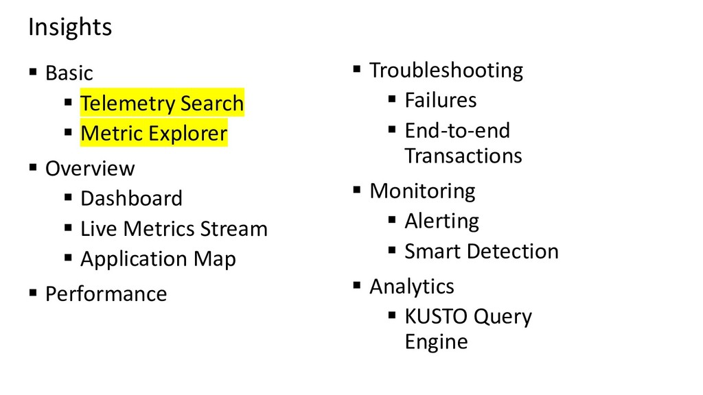 Insights ▪ Basic ▪ Telemetry Search ▪ Metric Ex...