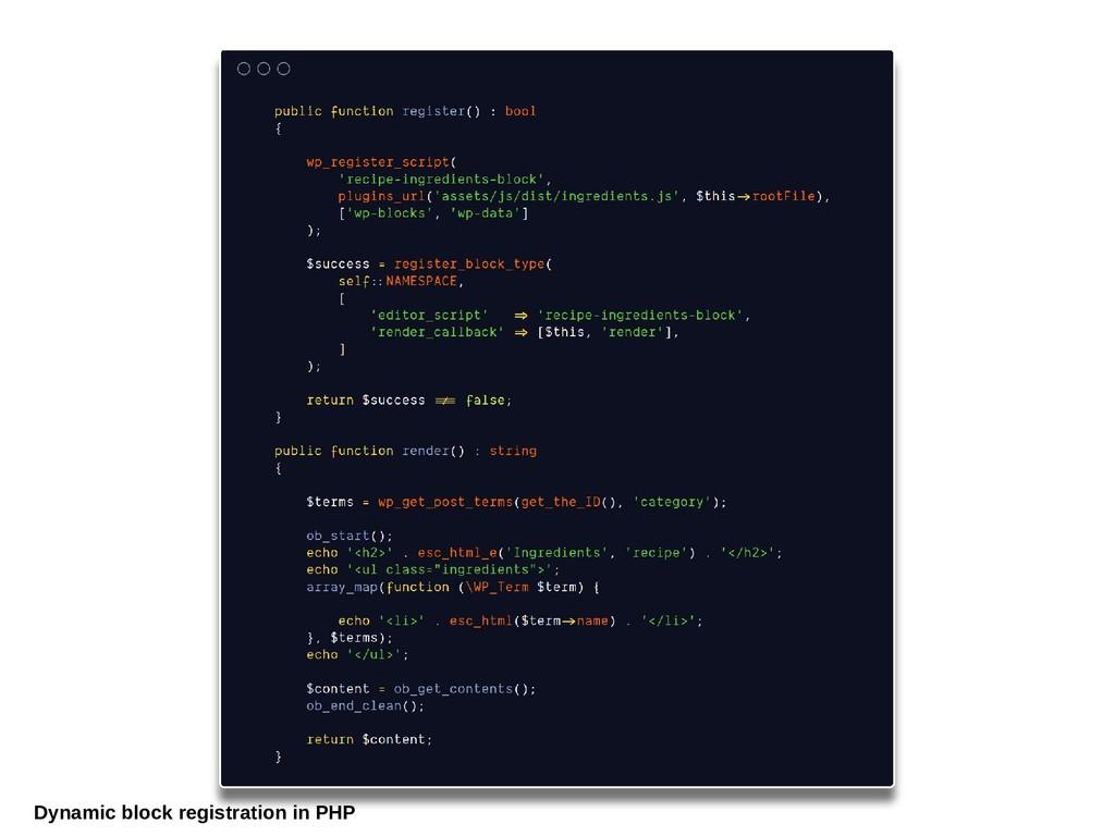Dynamic block registration in PHP