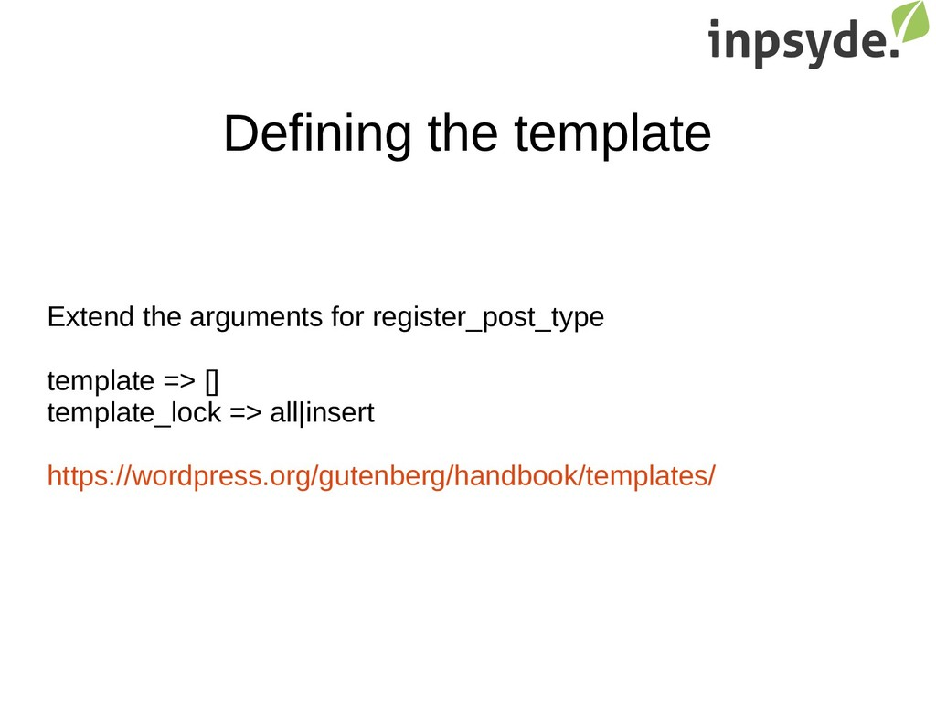 Defining the template Extend the arguments for ...