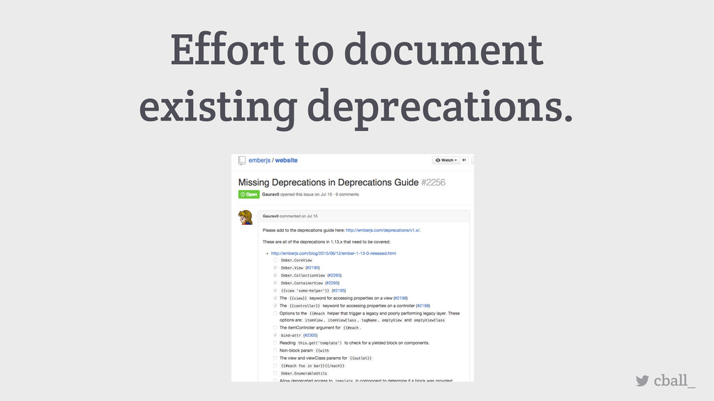 Effort to document existing deprecations. cball_