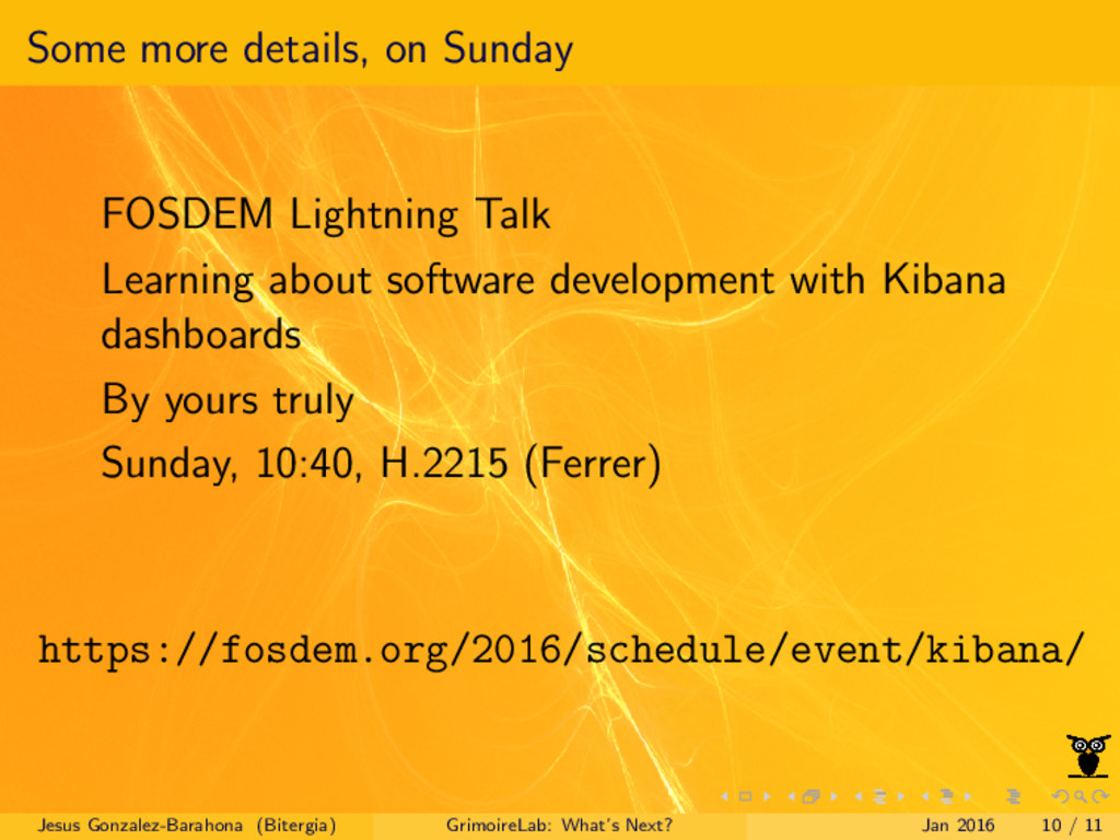 Some more details, on Sunday FOSDEM Lightning T...
