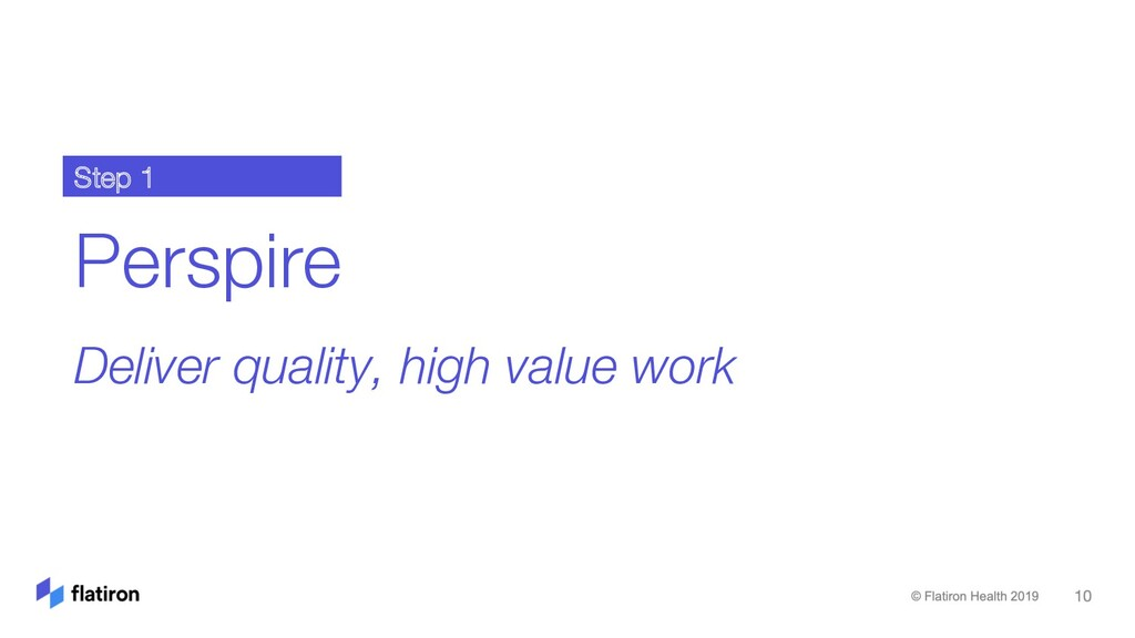 Perspire Deliver quality, high value work Step 1