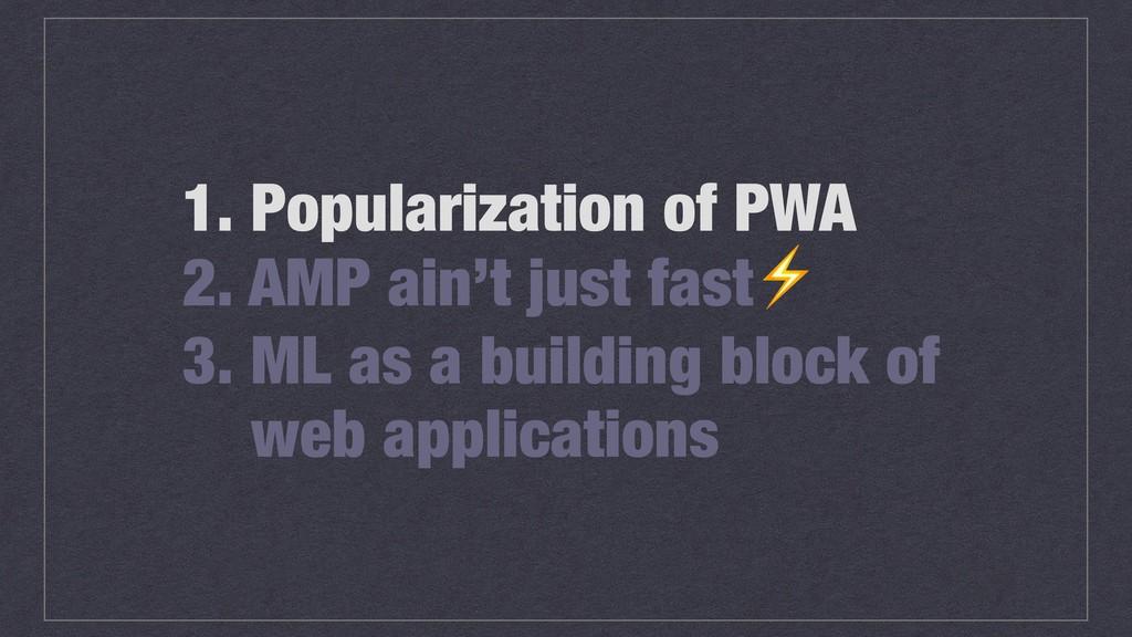 1. Popularization of PWA 2. AMP ain't just fast...