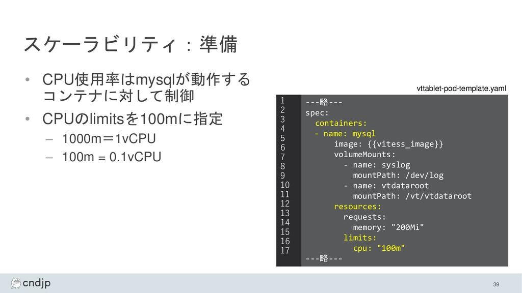 スケーラビリティ:準備 • CPU使用率はmysqlが動作する コンテナに対して制御 • CP...