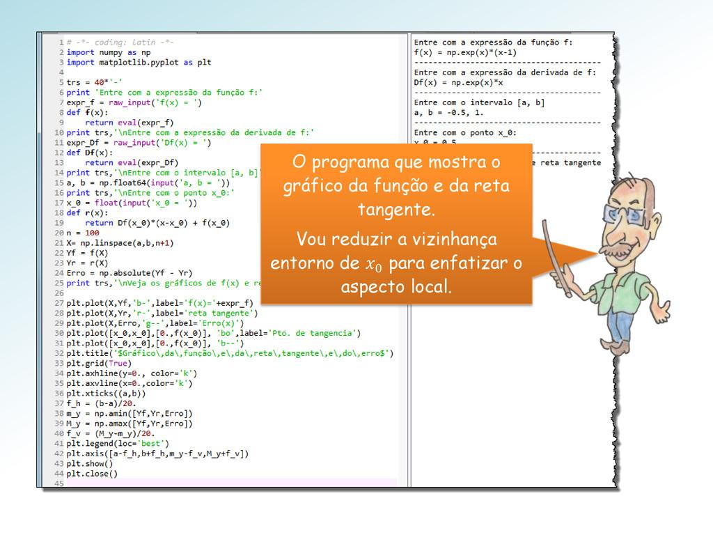 O programa que mostra o gráfico da função e da ...