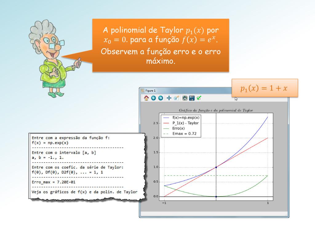 A polinomial de Taylor 1 () por 0 = 0. para a f...