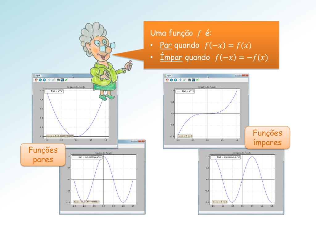 Funções pares Funções ímpares Uma função f é: •...