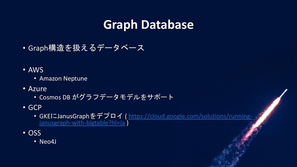 Graph Database • Graph構造を扱えるデータベース • AWS • Amaz...