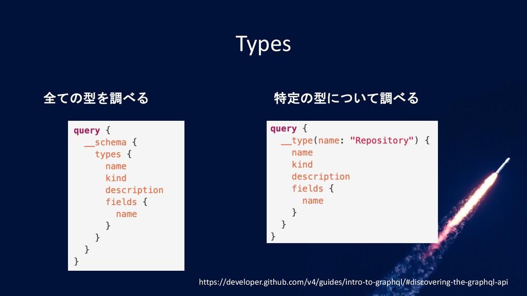 Types 全ての型を調べる 特定の型について調べる https://developer.gi...