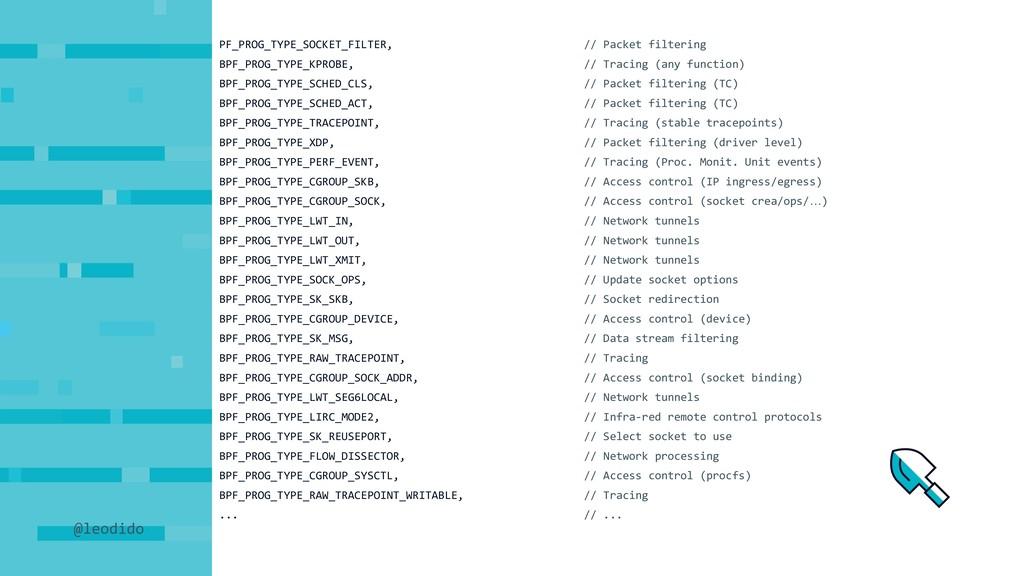 PF_PROG_TYPE_SOCKET_FILTER, // Packet filtering...