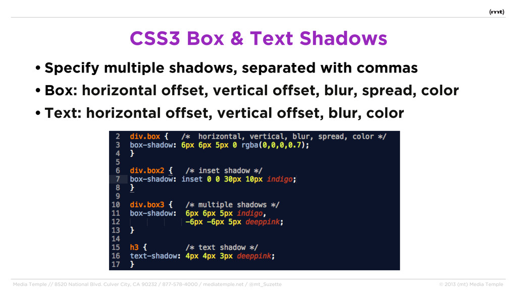 • Specify multiple shadows, separated with comm...