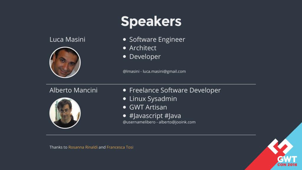 Speakers Luca Masini Software Engineer Architec...