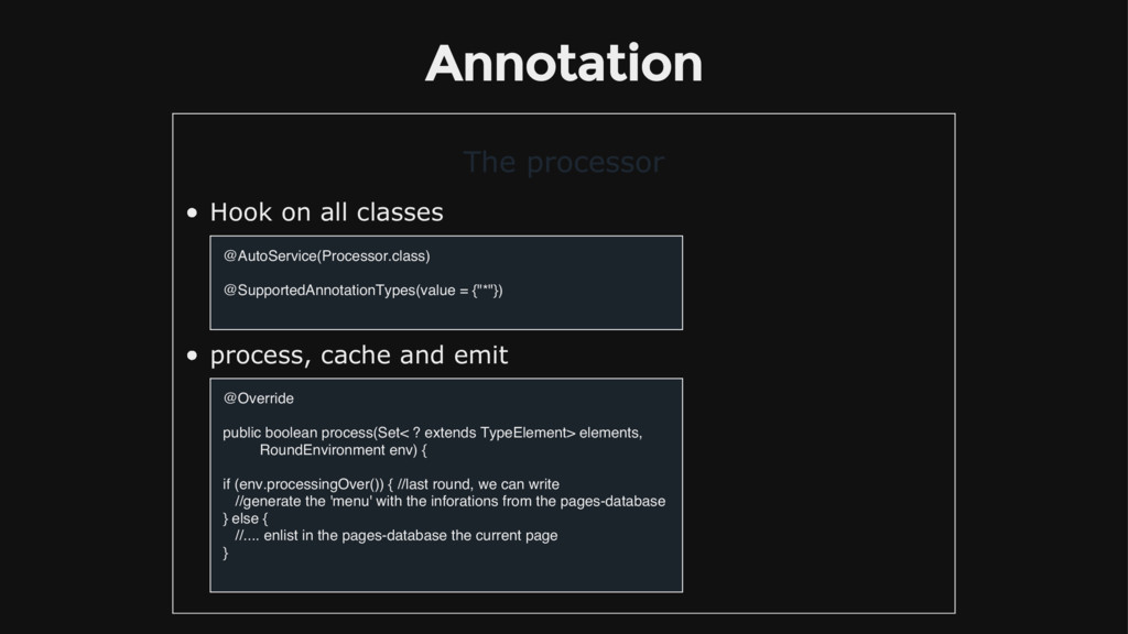 Annotation The processor Hook on all classes @A...