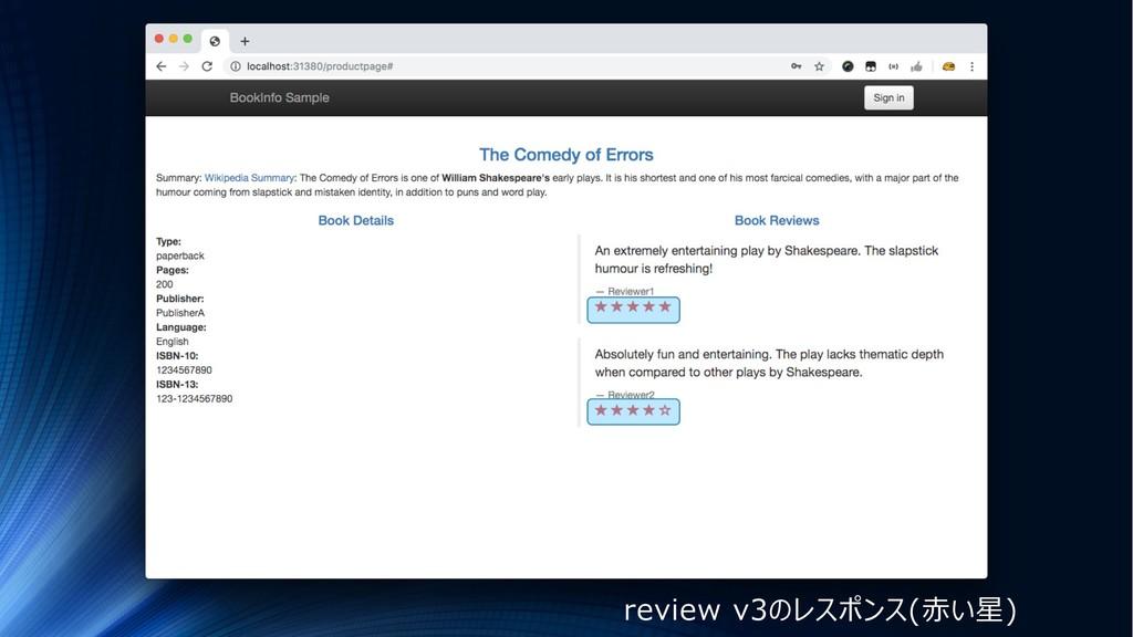 review v3のレスポンス(⾚い星)