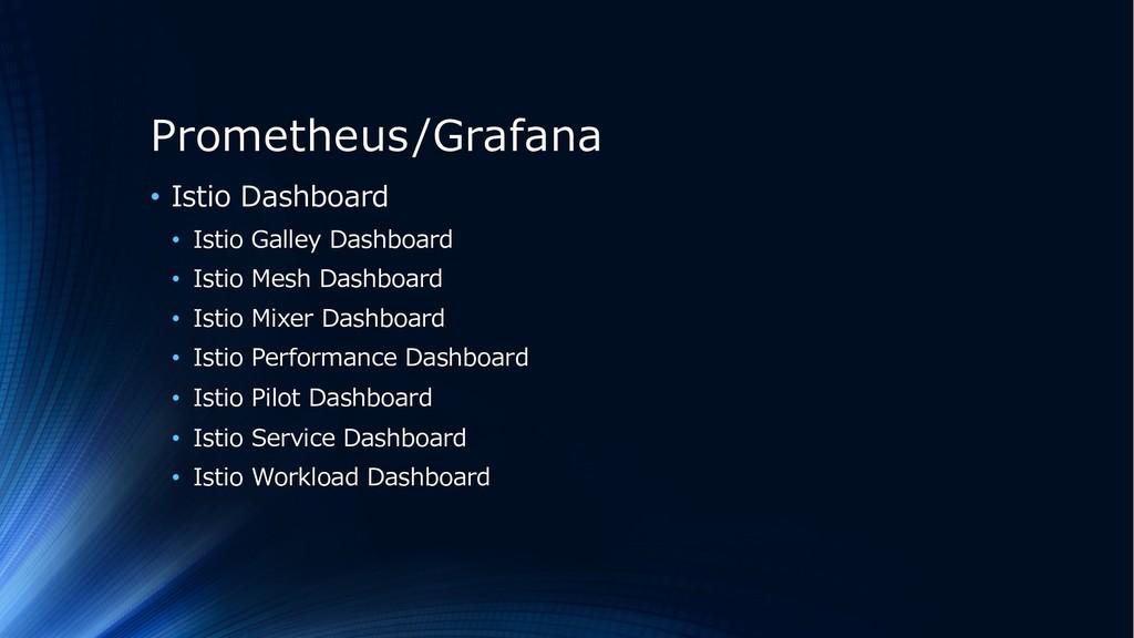 Prometheus/Grafana • Istio Dashboard • Istio Ga...