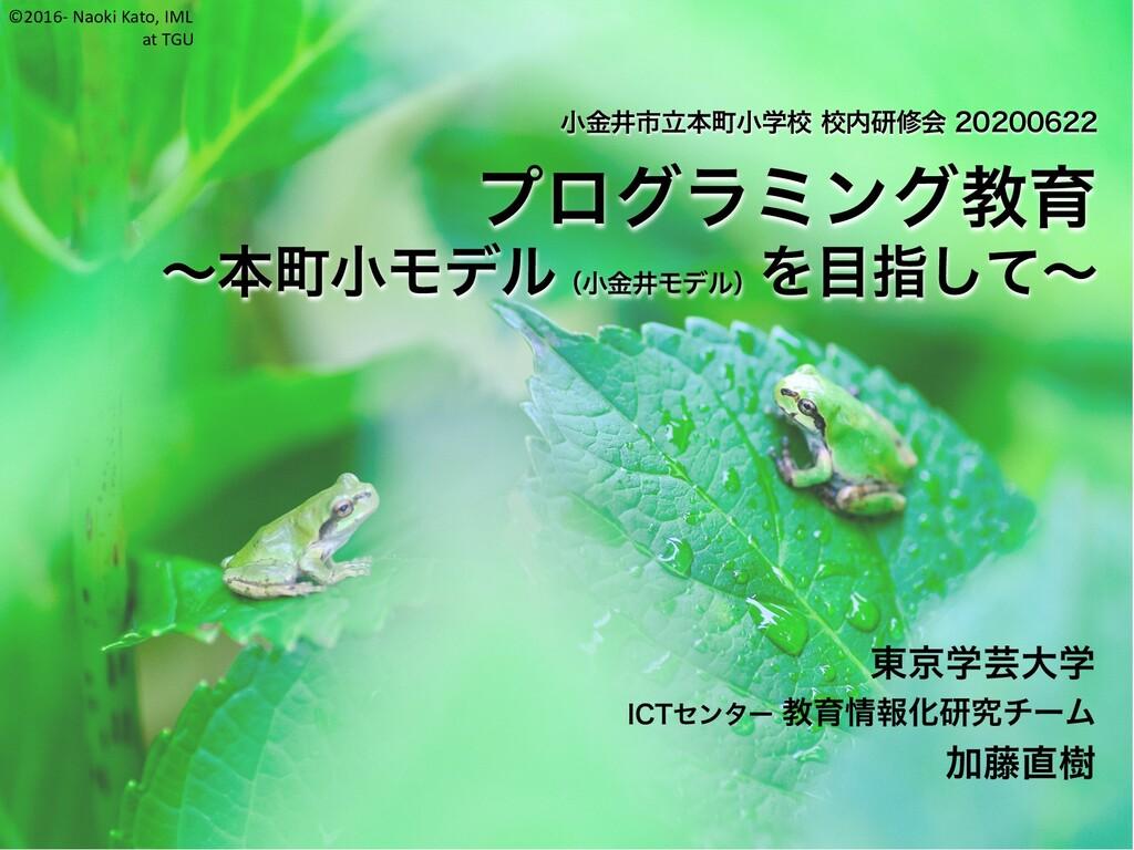 ©2016- Naoki Kato, IML at TGU 小金井市立本町小学校 校内研修会 ...