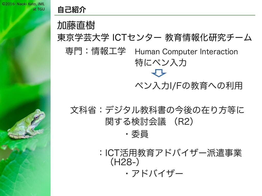 ©2016- Naoki Kato, IML at TGU 自己紹介 加藤直樹 東京学芸大学 ...