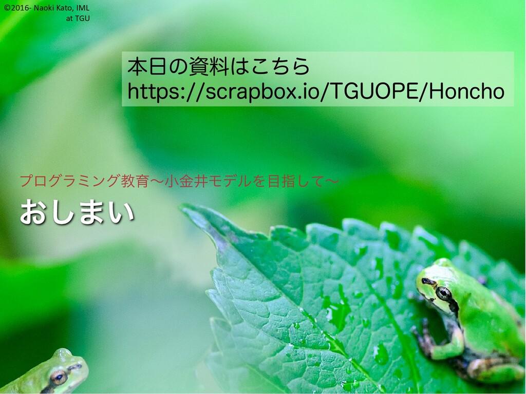 ©2016- Naoki Kato, IML at TGU おしまい プログラミング教育~小金...