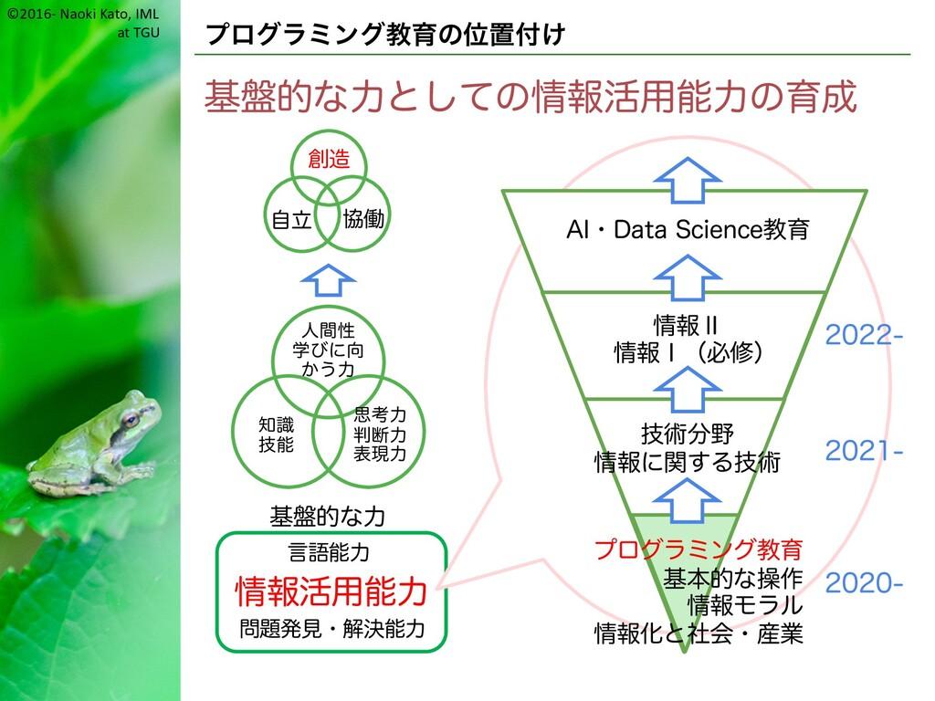 ©2016- Naoki Kato, IML at TGU プログラミング教育の位置付け 基盤...