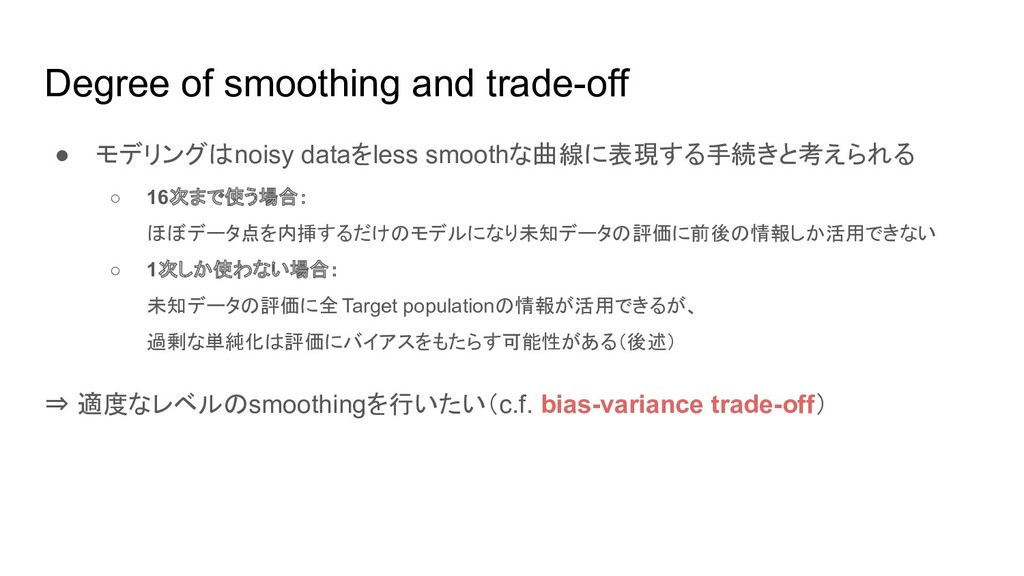 Degree of smoothing and trade-off ● モデリングはnoisy...