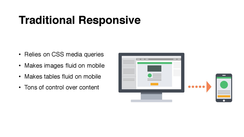 Traditional Responsive • Relies on CSS media qu...