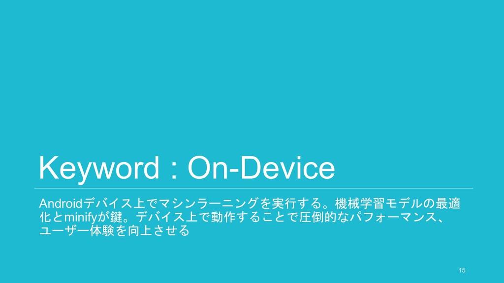 Keyword : On-Device Androidデバイス上でマシンラーニングを実行する。...