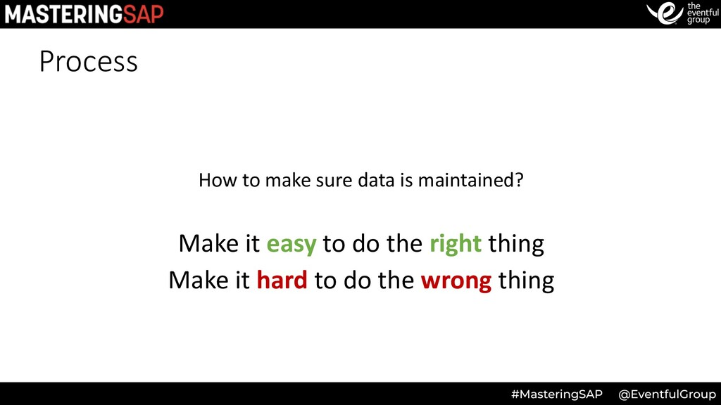 Process How to make sure data is maintained? Ma...