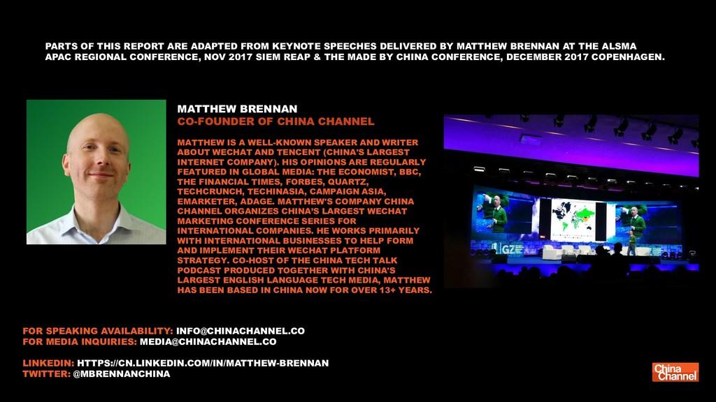 MATTHEW BRENNAN CO-FOUNDER OF CHINA CHANNEL MAT...