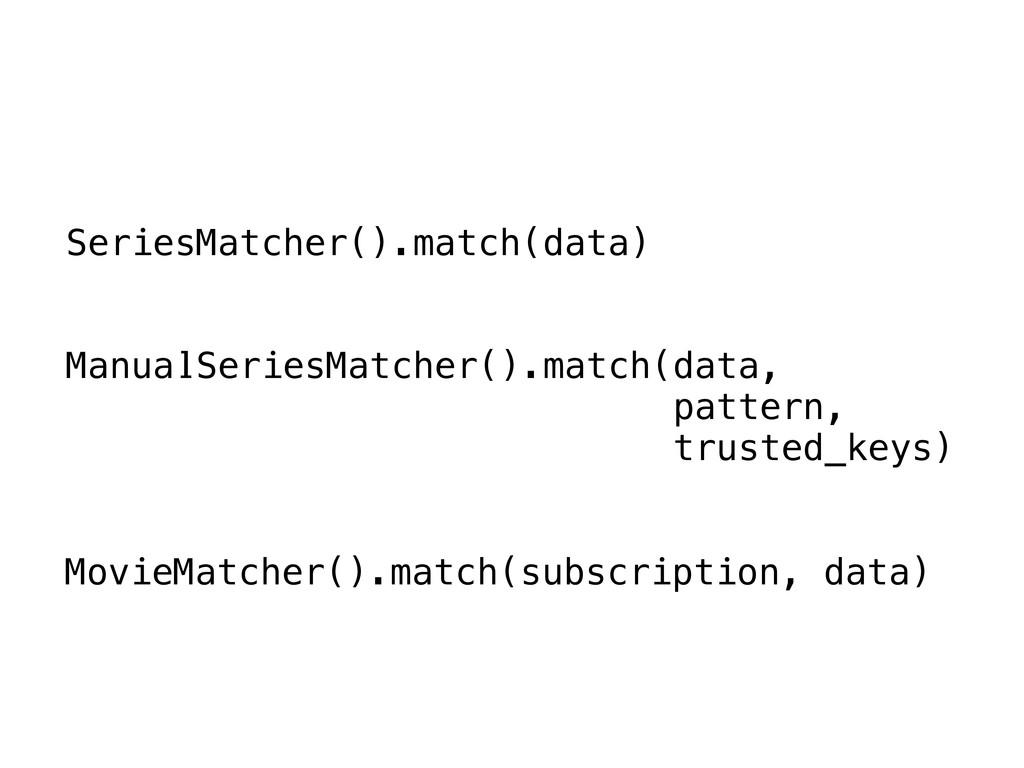 SeriesMatcher().match(data) ManualSeriesMatcher...