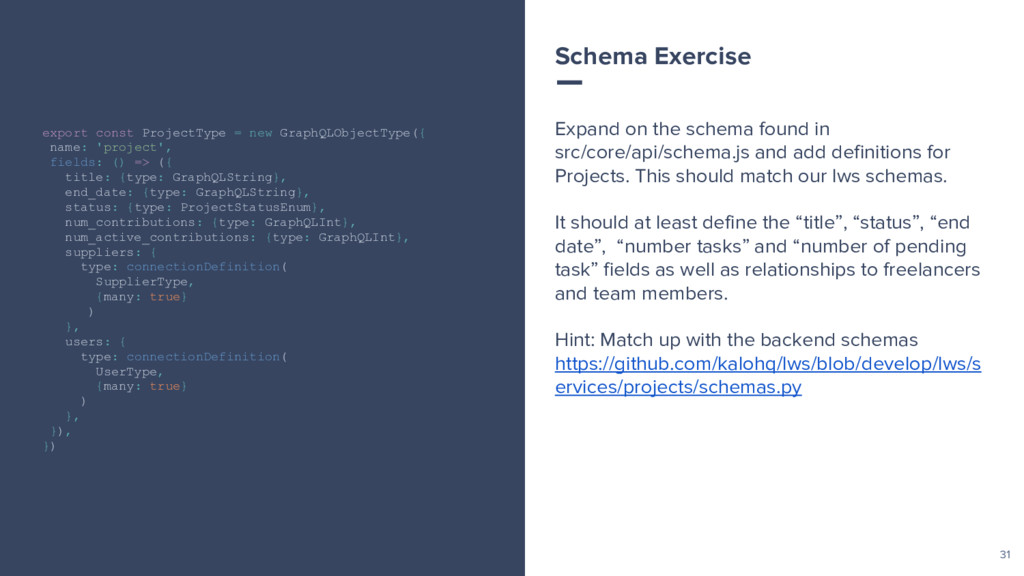31 Expand on the schema found in src/core/api/s...