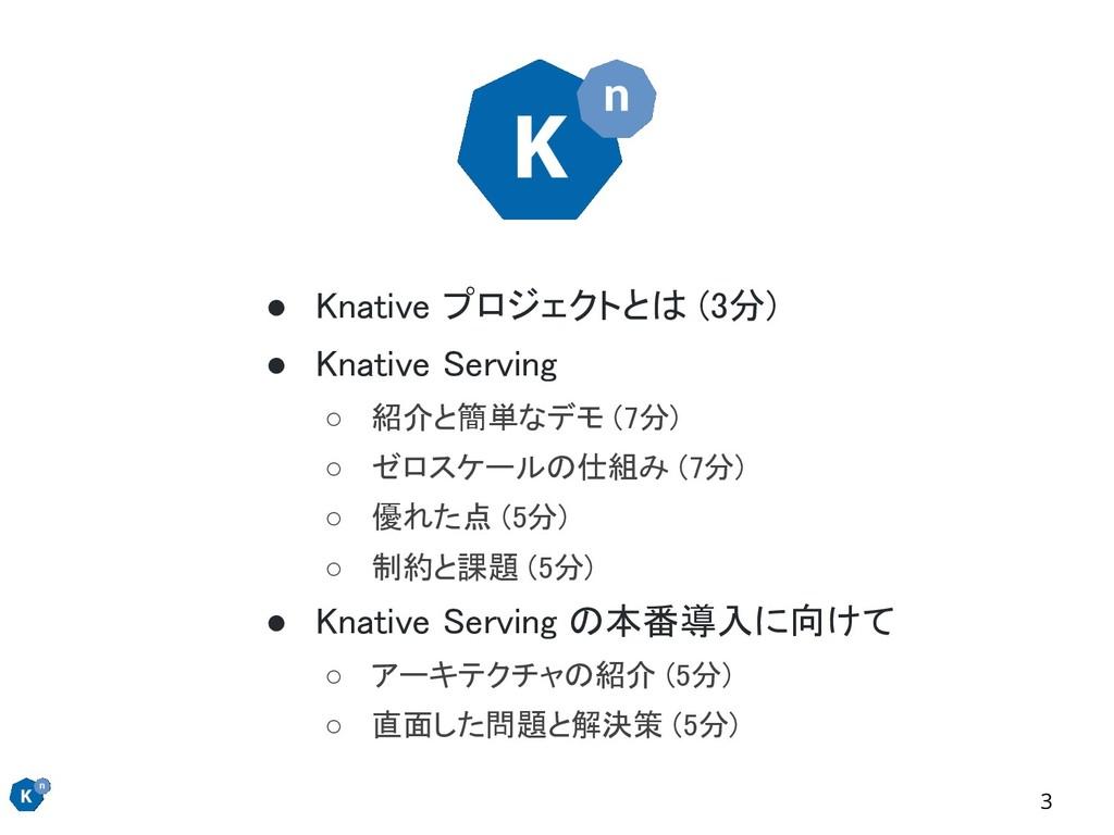 ● Knative プロジェクトとは (3分) ● Knative Serving ○ 紹...