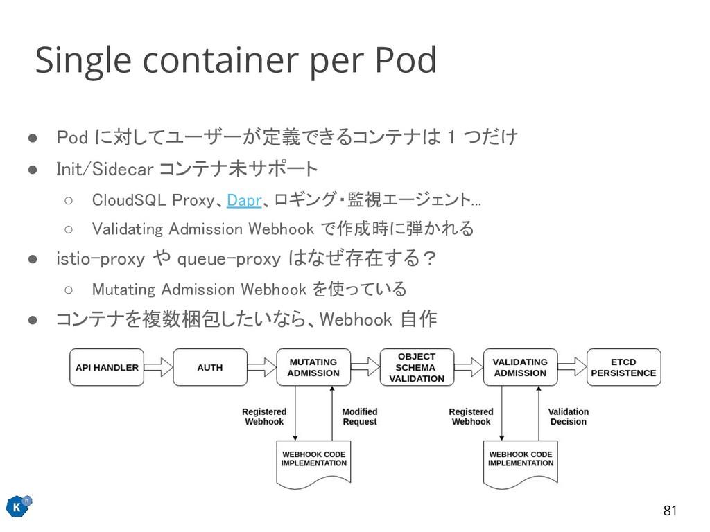 ● Pod に対してユーザーが定義できるコンテナは 1 つだけ ● Init/Sidecar...