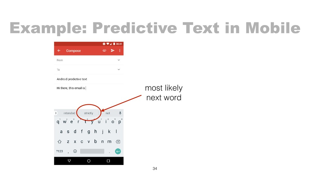 34 most likely next word Example: Predictive Te...