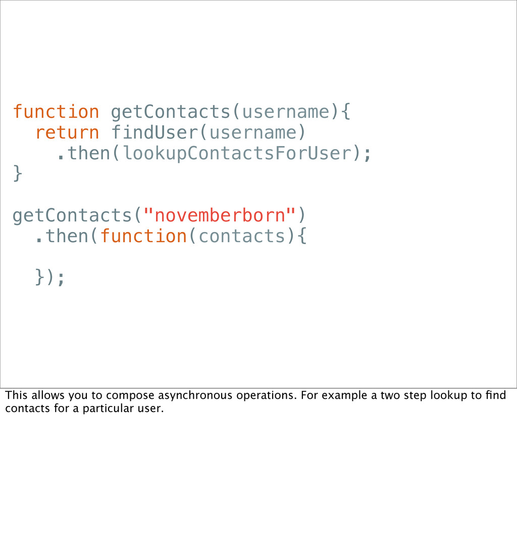 function getContacts(username){ return findUser...