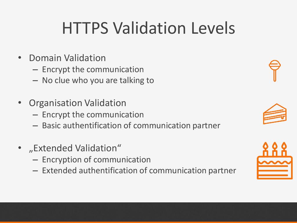 HTTPS Validation Levels • Domain Validation – E...