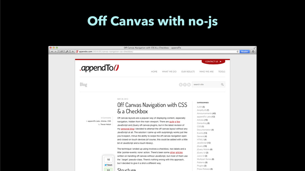 Off Canvas with no-js