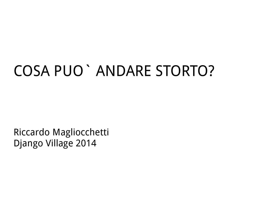 COSA PUO` ANDARE STORTO? Riccardo Magliocchetti...