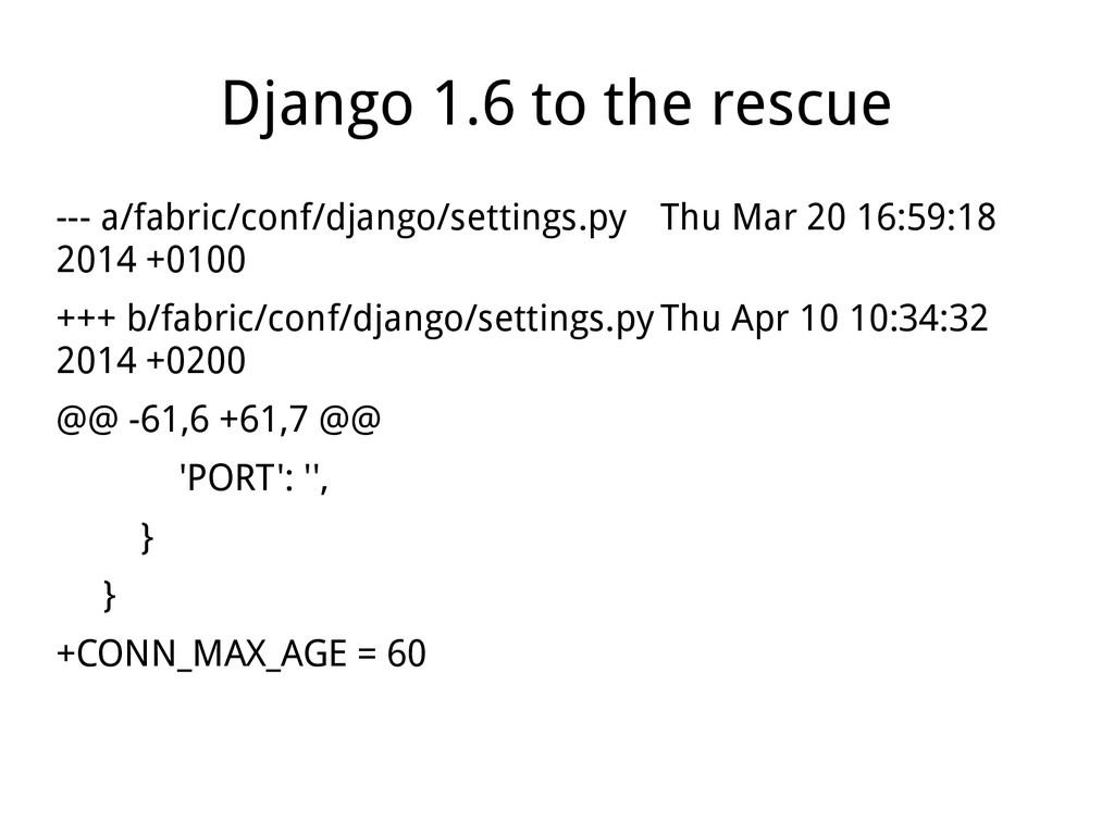 Django 1.6 to the rescue --- a/fabric/conf/djan...