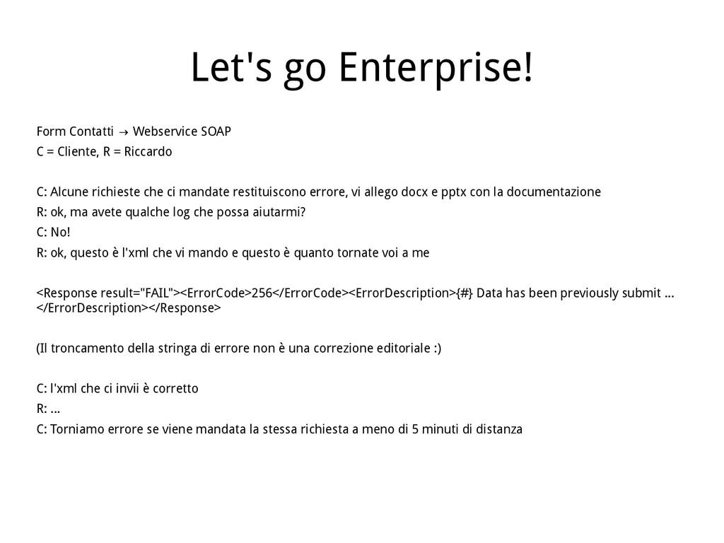 Let's go Enterprise! Form Contatti Webservice S...