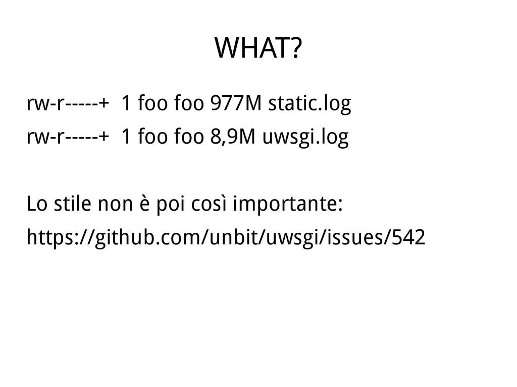 WHAT? rw-r-----+ 1 foo foo 977M static.log rw-r...