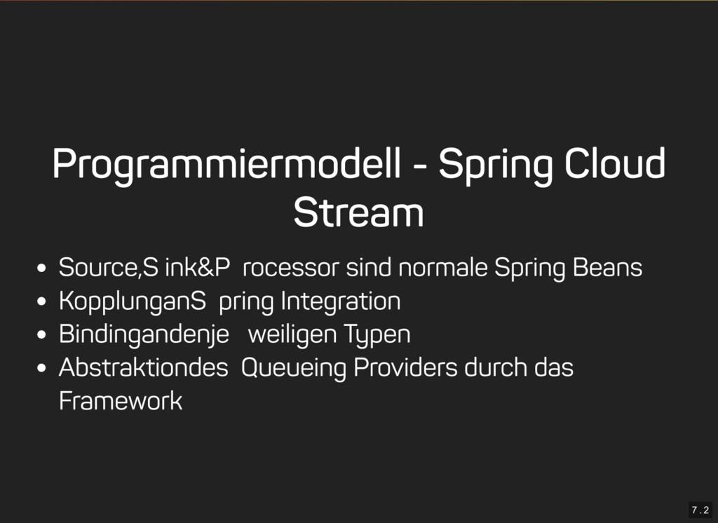 7 . 2 Programmiermodell - Spring Cloud Stream S...